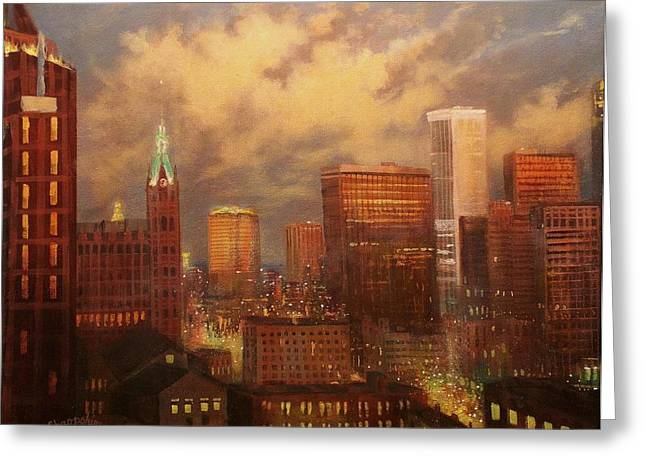 Art Museum Paintings Greeting Cards - Milwaukee My Hometown Greeting Card by Tom Shropshire