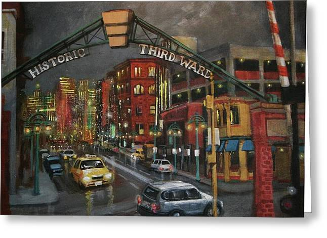 City Lights Greeting Cards - Milwaukees Historic Third Ward Greeting Card by Tom Shropshire