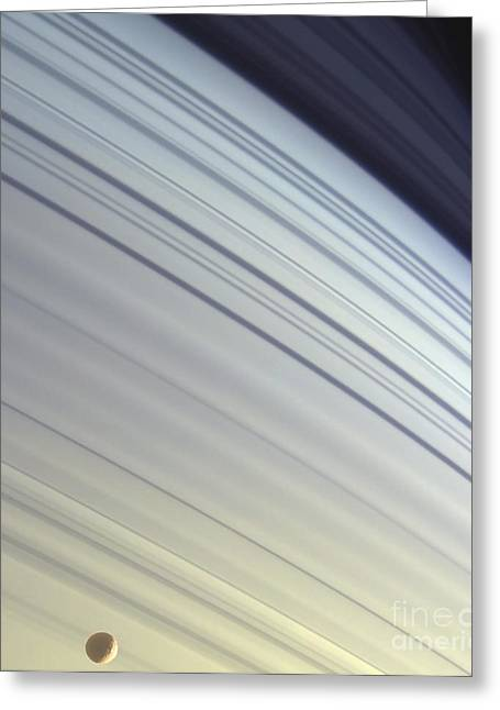 Mimas Drifts Along In Its Orbit Greeting Card by Stocktrek Images