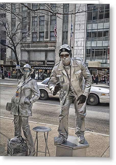Stiff Greeting Cards - Mime in Chicago No.0018 Greeting Card by Randall Nyhof