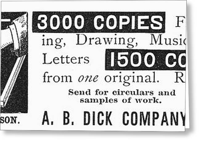 Mimeograph Ad, 1890 Greeting Card by Granger