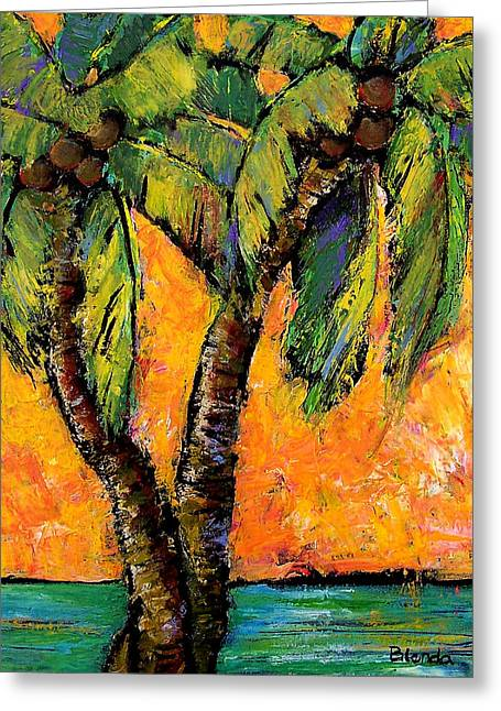 Bright Greeting Cards - Mimosa Sky Palm Greeting Card by Blenda Studio