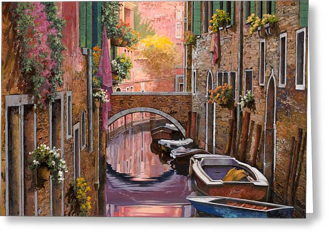 Gondolas Greeting Cards - Mimosa Sui Canali Greeting Card by Guido Borelli