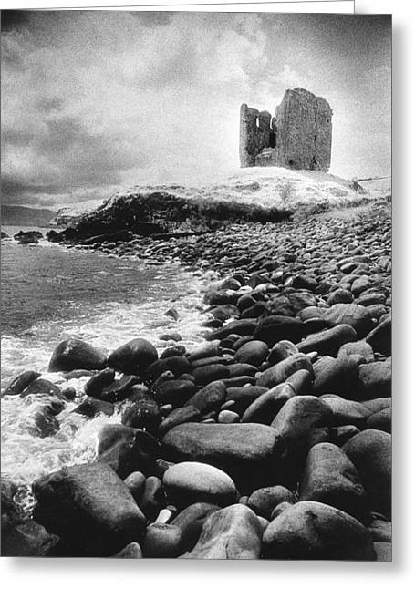 Eerie Greeting Cards - Minard Castle Greeting Card by Simon Marsden