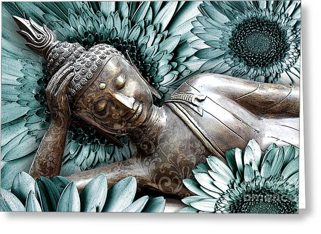Modern Buddhist Art Greeting Cards - Mind Bloom Greeting Card by Christopher Beikmann