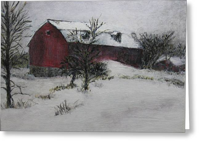 Gloaming Paintings Greeting Cards - Mind On Wintertime Greeting Card by Karen Newquist