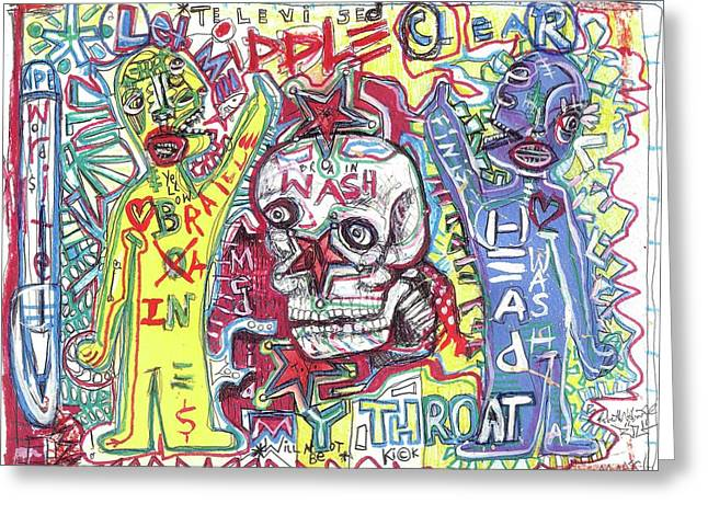 Raw Contemporary Graffiti Greeting Cards - Mind Over Matters Greeting Card by Robert Wolverton Jr