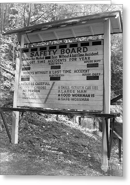Mining Photos Greeting Cards - Mine Safety Board Sign Greeting Card by Lj Lambert