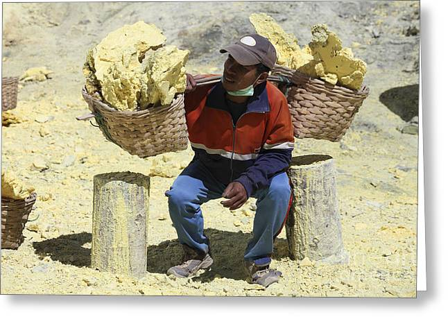 Manual Greeting Cards - Miner Lifting Heavy Baskets Full Greeting Card by Richard Roscoe