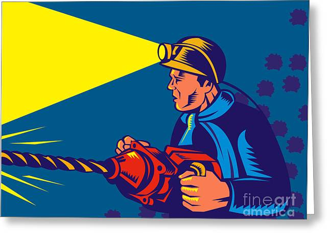 miner with jack drill Greeting Card by Aloysius Patrimonio