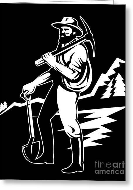 Pick Ax Greeting Cards - Miner With Pick Axe And Shovel  Greeting Card by Aloysius Patrimonio
