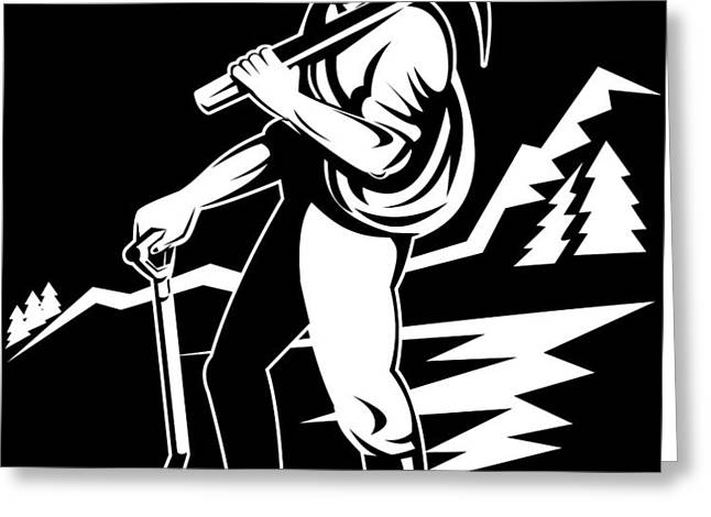 miner with pick axe and shovel  Greeting Card by Aloysius Patrimonio