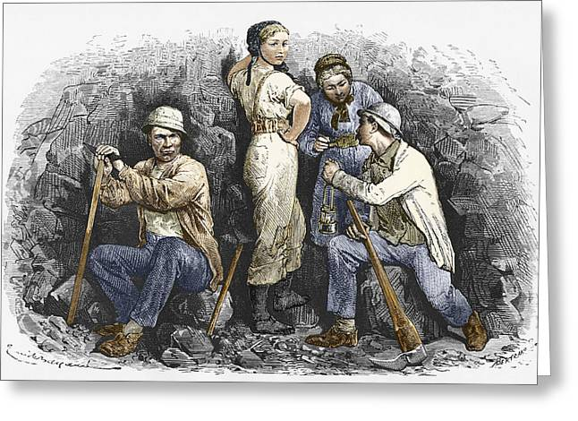 Working Conditions Greeting Cards - Miners And Their Wives, 19th Century Greeting Card by Sheila Terry