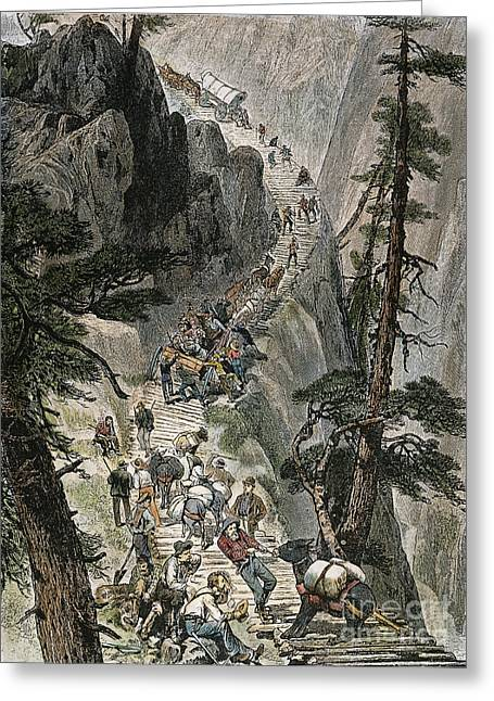 Corduroys Greeting Cards - MINERS ON CORDUROY ROAD.  Prospectors traveling on their way to a new strike over a corduroy road through a Colorado mountain pass. American engraving, 1879 Greeting Card by Granger