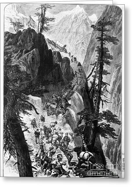 Corduroys Greeting Cards - MINERS ON CORDUROY ROAD.  Prospectors traveling on their way to a new strike over a corduroy road through a Colorado mountain pass. Wood engraving, American, 1879 Greeting Card by Granger