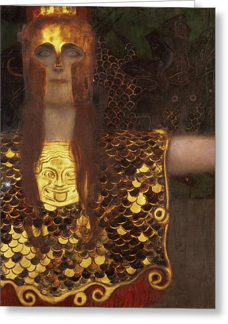 1918 Paintings Greeting Cards - Minerva Greeting Card by Gustav Klimt