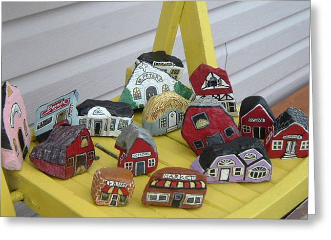 Red School House Mixed Media Greeting Cards - Mini Houses on a Chair Greeting Card by Barbara Griffin