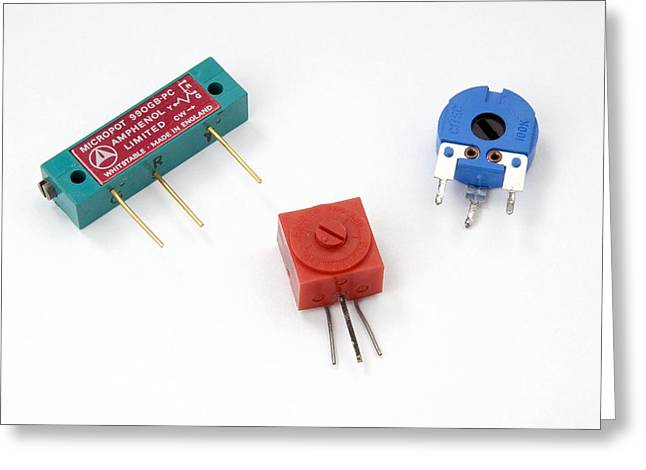 Component Greeting Cards - Mini Pcb Potentiometers Greeting Card by Trevor Clifford Photography
