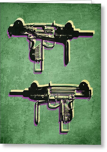 Gun Greeting Cards - Mini Uzi Sub Machine Gun on Green Greeting Card by Michael Tompsett