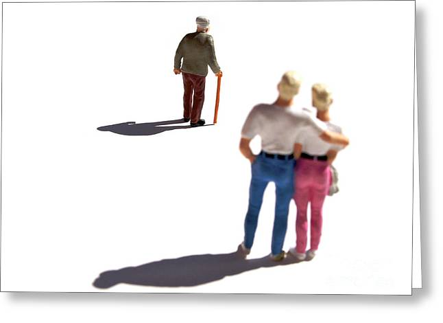 Observation Greeting Cards - Miniature figurines couple watching elderly man Greeting Card by Bernard Jaubert
