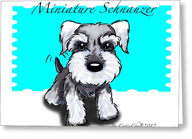Puppies Mixed Media Greeting Cards - Miniature Schnauzer Greeting Card by Catia Cho