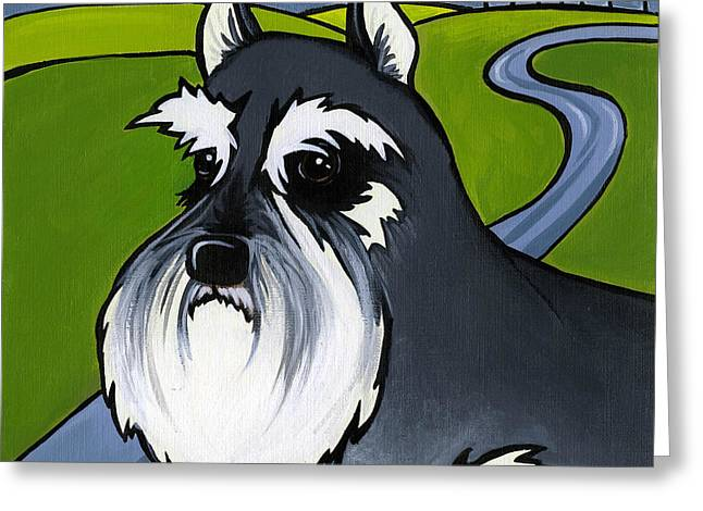 Eyebrow Greeting Cards - Miniature Schnauzer Greeting Card by Leanne Wilkes