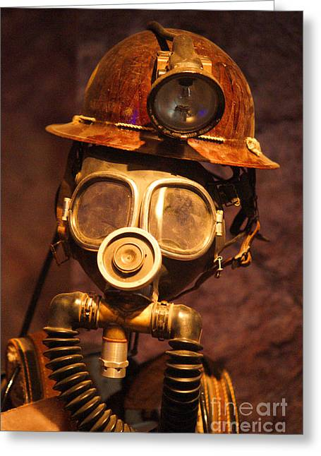 Mask Greeting Cards - Mining Man Greeting Card by Randy Harris