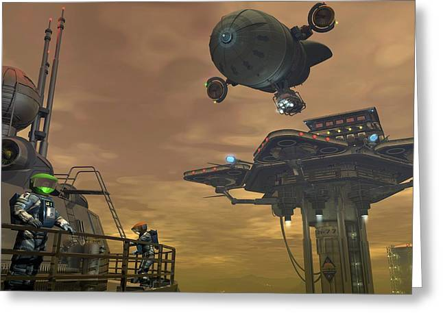 Colonisation Greeting Cards - Mining On Titan, Artwork Greeting Card by Walter Myers