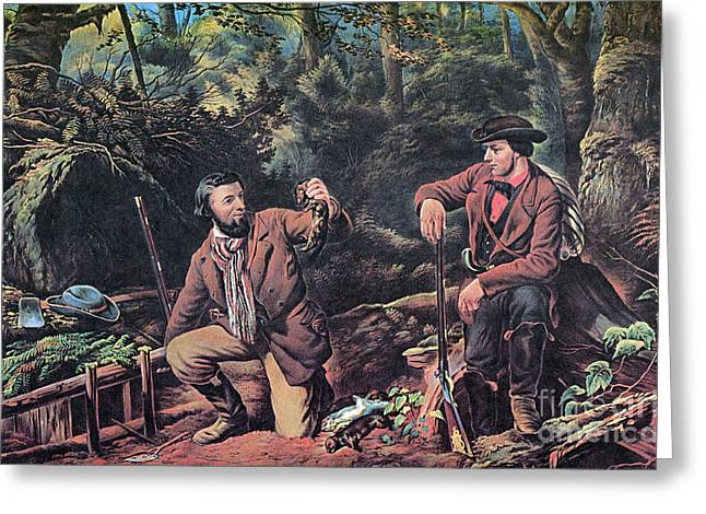 Mink Greeting Cards - Mink Trapping, 1862 Greeting Card by Photo Researchers