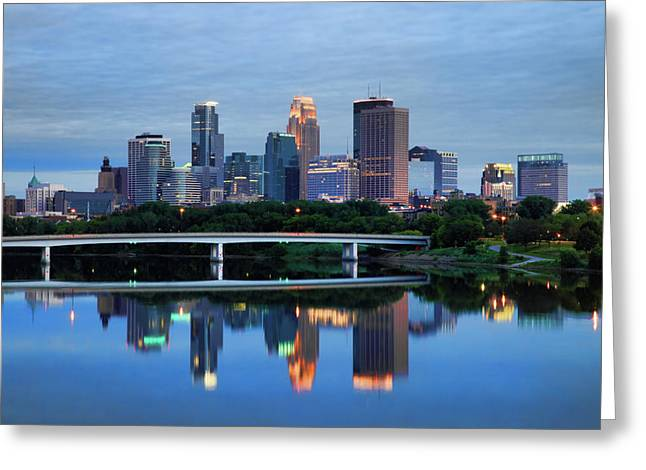 Minnesota Photographs Greeting Cards - Minneapolis Reflections Greeting Card by Rick Berk