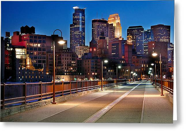 Minnesota Photographs Greeting Cards - Minneapolis Skyline from Stone Arch Bridge Greeting Card by Jon Holiday
