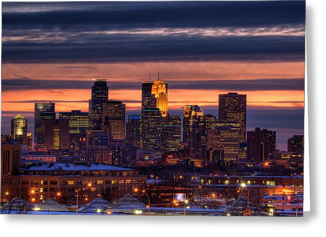 Twins Greeting Cards - Minneapolis Skyline Greeting Card by Shawn Everhart