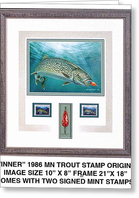 Trout Fishing Greeting Cards - Minnestao 1986 Trout Stamp original Greeting Card by JQ Licensing