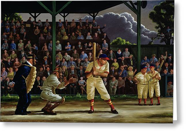 Baseball Stadiums Paintings Greeting Cards - Minor League Greeting Card by Clyde Singer
