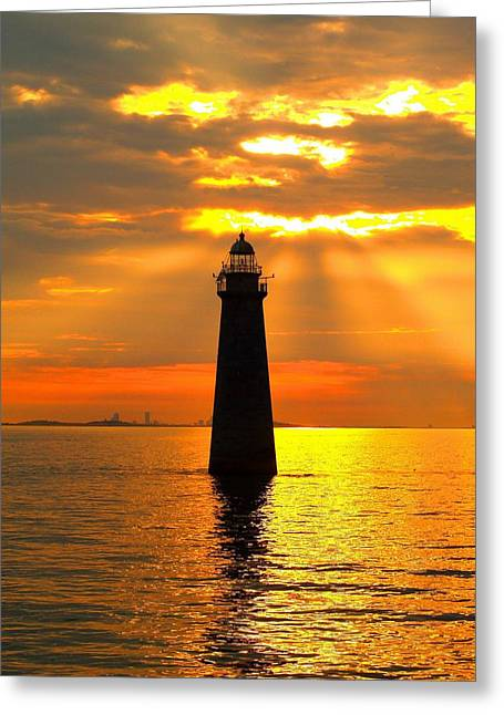 Recently Sold -  - Ledge Greeting Cards - Minots Ledge Lighthouse Greeting Card by Joseph Gillette