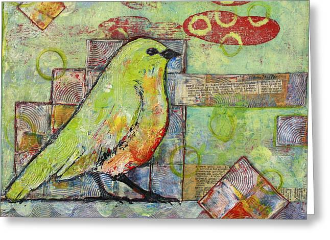 Birds Paintings Greeting Cards - Mint Green Bird Art Greeting Card by Blenda Studio