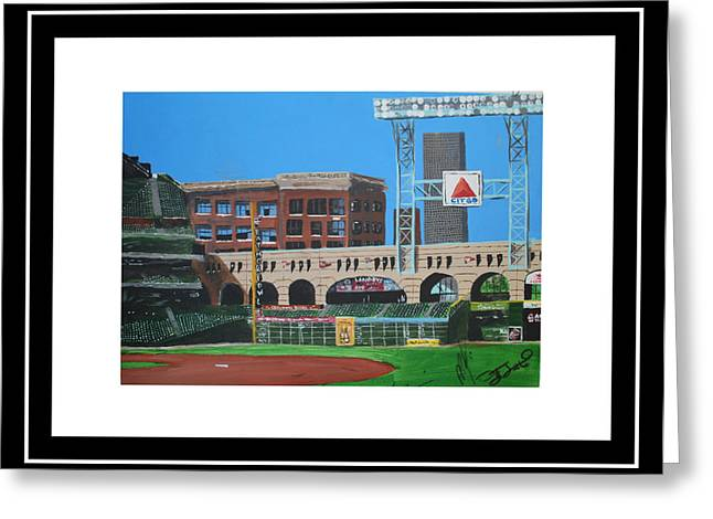 Baseball Stadiums Paintings Greeting Cards - Minute Maid Park Greeting Card by Leo Artist