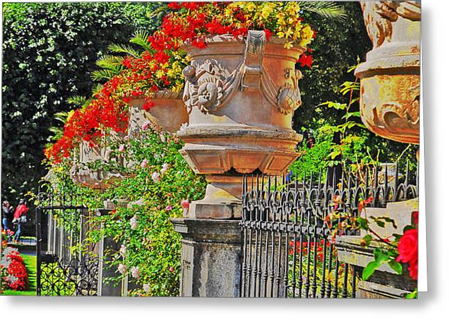 Mirabell Gardens in Salzburg HDR Greeting Card by Mary Machare