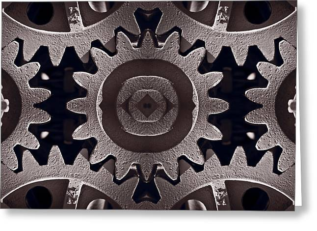 Gear Greeting Cards - Mirror Gears Greeting Card by Steve Gadomski