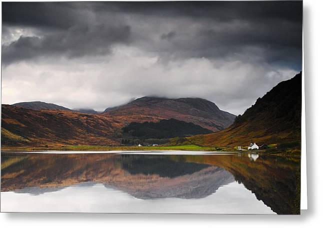 Trees Reflecting In Water Greeting Cards - Mirror Image Of Land In The Water, Loch Greeting Card by John Short