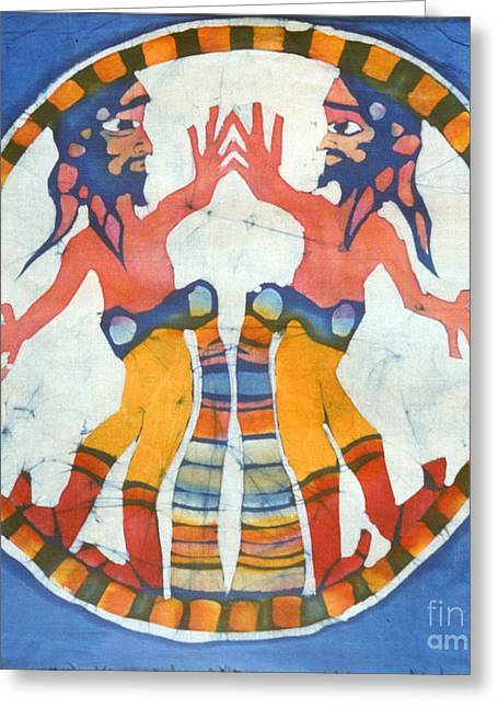 Men Tapestries - Textiles Greeting Cards - Mirror Image Pirates Greeting Card by Carol  Law Conklin