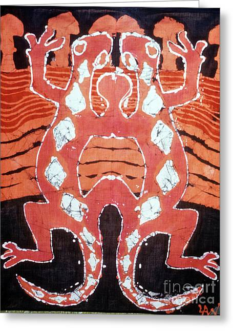 Layers Tapestries - Textiles Greeting Cards - Mirror Image Salamanders Greeting Card by Carol Law Conklin