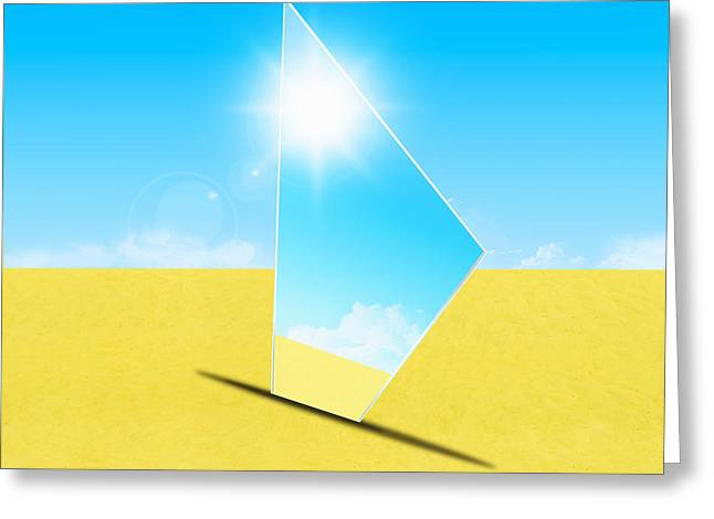 Reflex Greeting Cards - Mirror On Sand In Blue Sky Greeting Card by Setsiri Silapasuwanchai