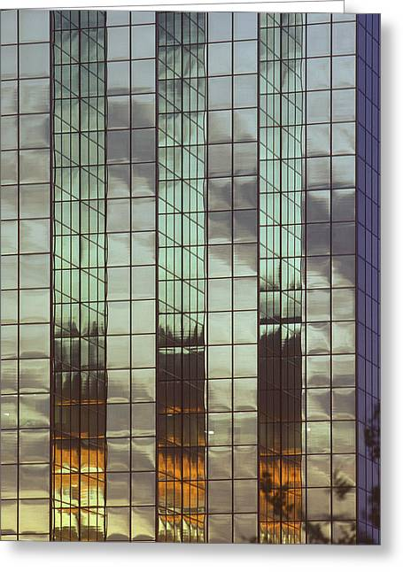 Mirrored Building Greeting Card by Mark Greenberg