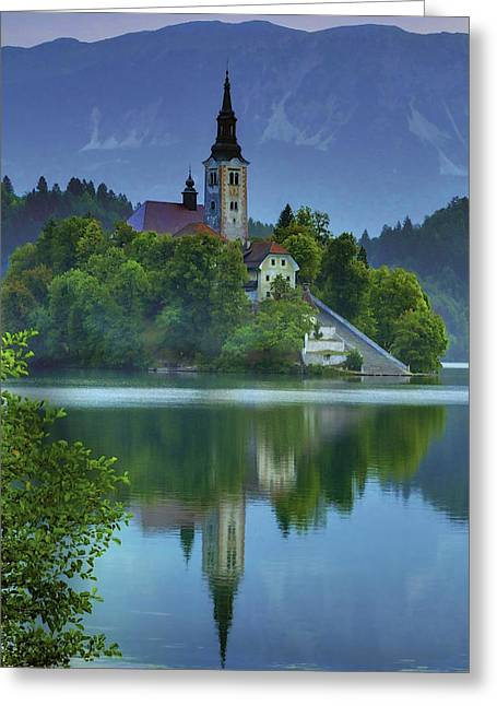 Bled Greeting Cards - Mirrored Church at Sunrise Greeting Card by Don Wolf
