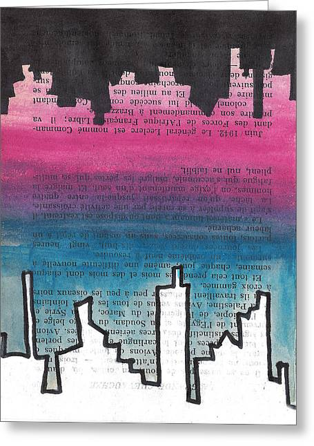 Urban. Sketch Greeting Cards - Mirrored Skyline Greeting Card by Jera Sky