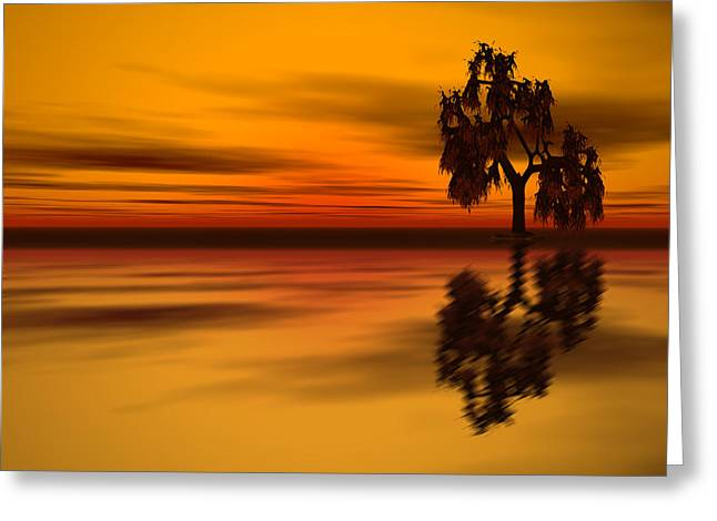 Sunset Prints Digital Greeting Cards - Mirroring Life Greeting Card by Lourry Legarde