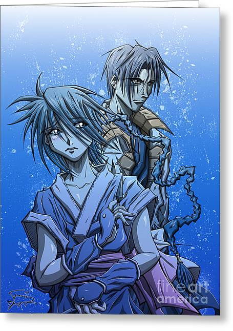 Japanimation Greeting Cards - Misao and Aoshi Greeting Card by Tuan HollaBack