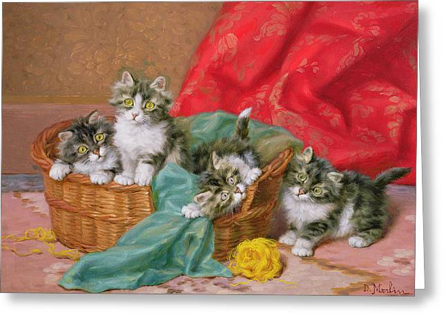 Daniel Paintings Greeting Cards - Mischievous Kittens Greeting Card by Daniel Merlin