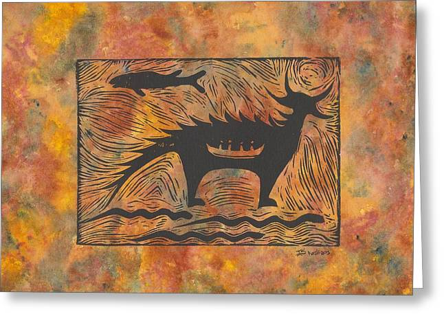 Recently Sold -  - Linocut Paintings Greeting Cards - Mishepeshu Greeting Card by Ingrid  Schmelter